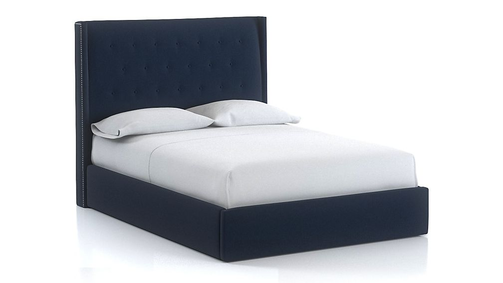 Ronin Queen Tufted Wingback Bed Sapphire - Image 1 of 1