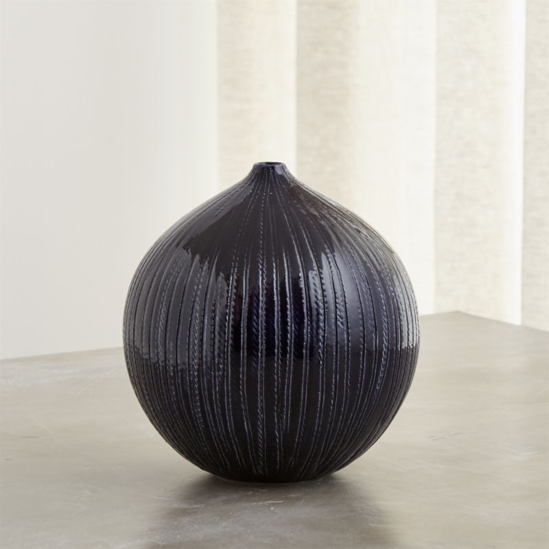 Rope Indigo Blue Ceramic Vase Reviews Crate And Barrel