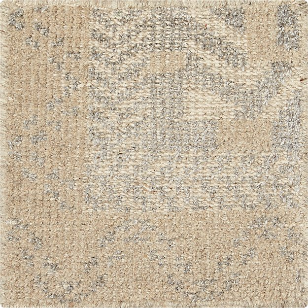 "Rosalie Neutral Hand Knotted Oriental 12"" sq. Rug Swatch"