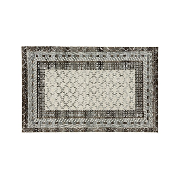 Rosalie Slate Grey Hand Knotted Oriental Grey 5'x8' Rug