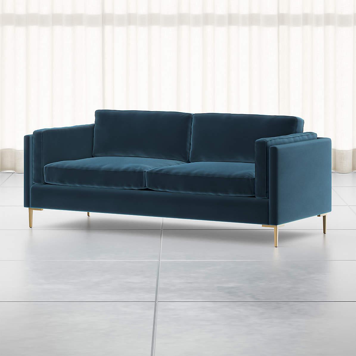 Rosalina 84 Blue Velvet Sofa Reviews Crate And Barrel