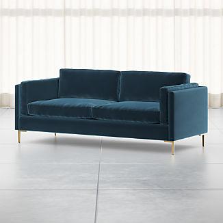 """Rosalina 84"""" Blue Velvet Sofa"""