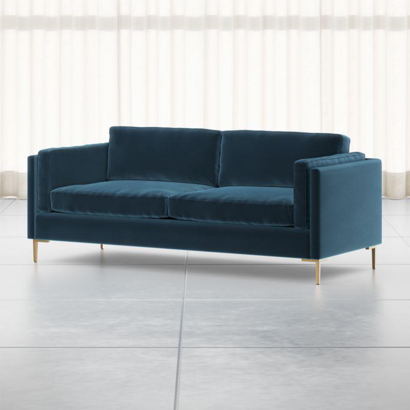 Rosalina 84 Blue Velvet Sofa Crate