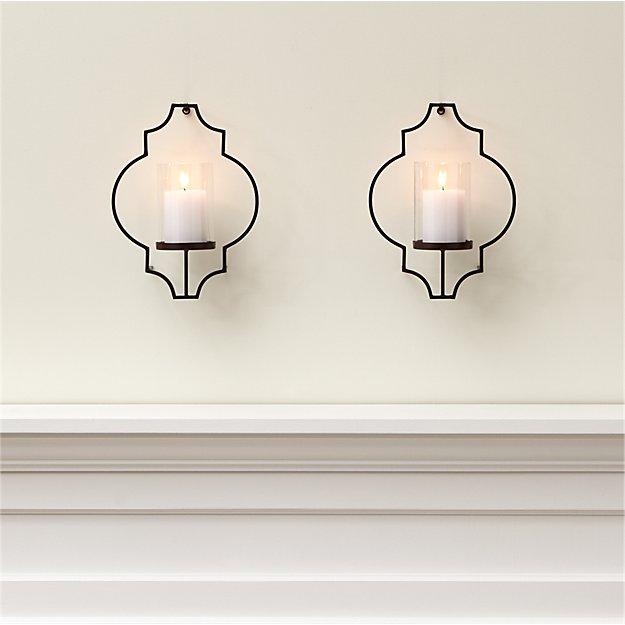 rosaline metal wall candle holders set of 2 crate and barrel. Black Bedroom Furniture Sets. Home Design Ideas