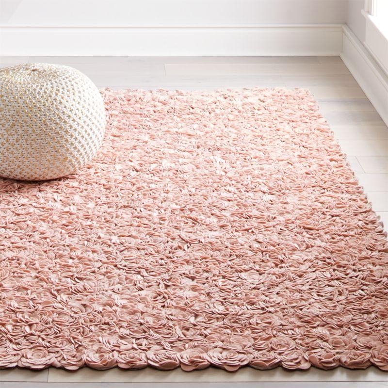 Rose Appliqué Rug (Pink) | Crate and Barrel