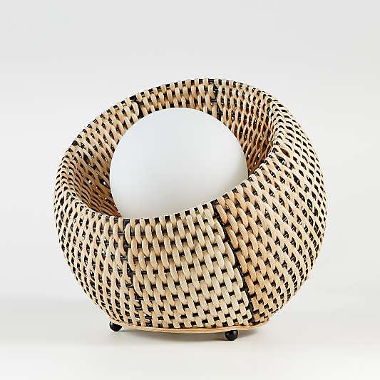 Rota Round Wicker Table Lamp