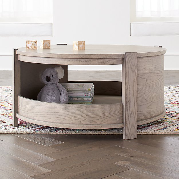 Rotunda Grey Stain Kids Table with Storage - Image 1 of 4