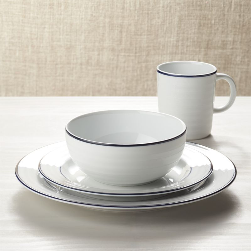 & Roulette Blue Band Dinnerware | Crate and Barrel
