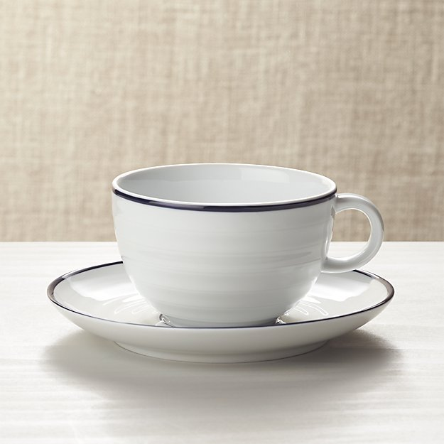 Roulette Blue Band Cup and Saucer