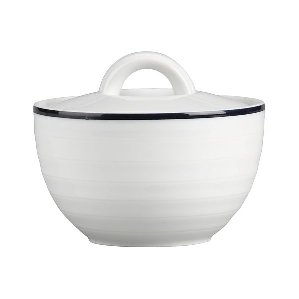 Roulette Blue Band Sugar Bowl with Lid