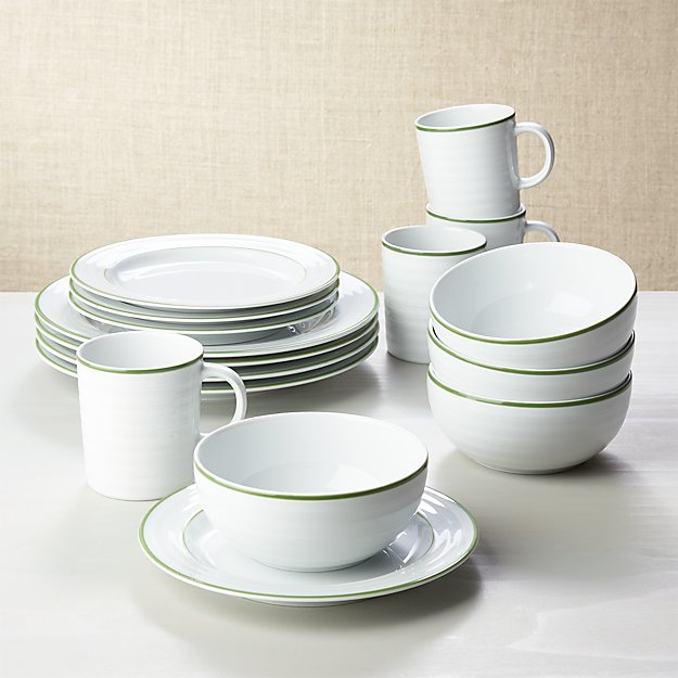 Roulette Green Band 16-Piece Dinnerware Set