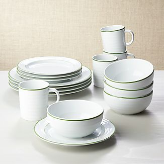 Roulette Green Band 16-Piece Dinnerware Set & Green Dinnerware | Crate and Barrel