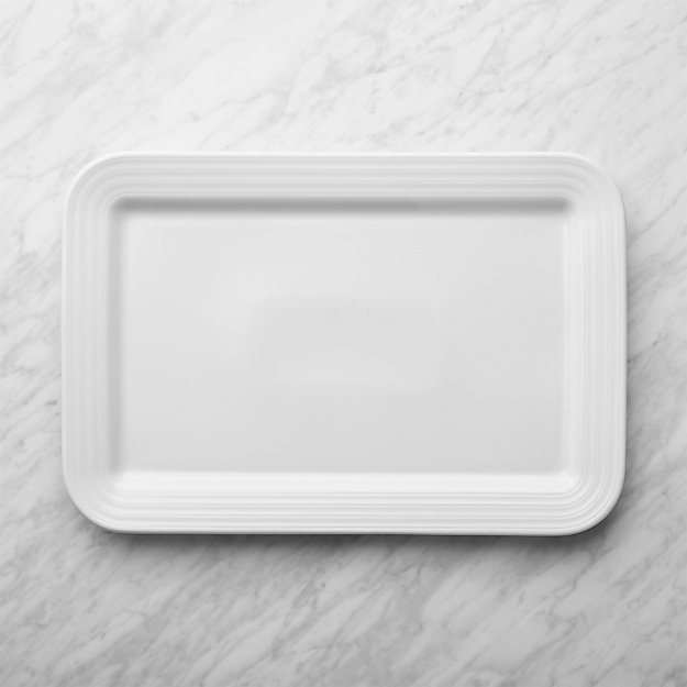 Roulette White Rectangular Serving Platter Reviews Crate And Barrel