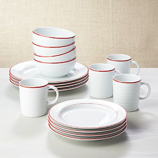 Roulette Red Band 16-Piece Dinnerware Set & Tableware Sets | Crate and Barrel