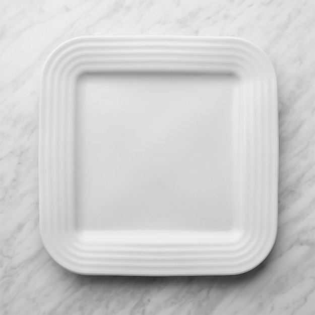 Roulette White Square Dinner Plate