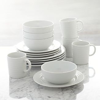 Roulette 16-Piece Dinnerware Set & White Dinnerware Sets | Crate and Barrel