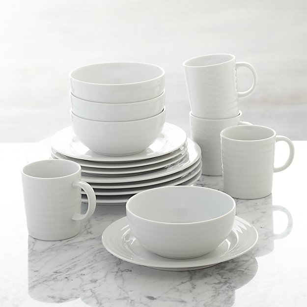 Roulette 16-Piece Dinnerware Set + Reviews | Crate and Barrel