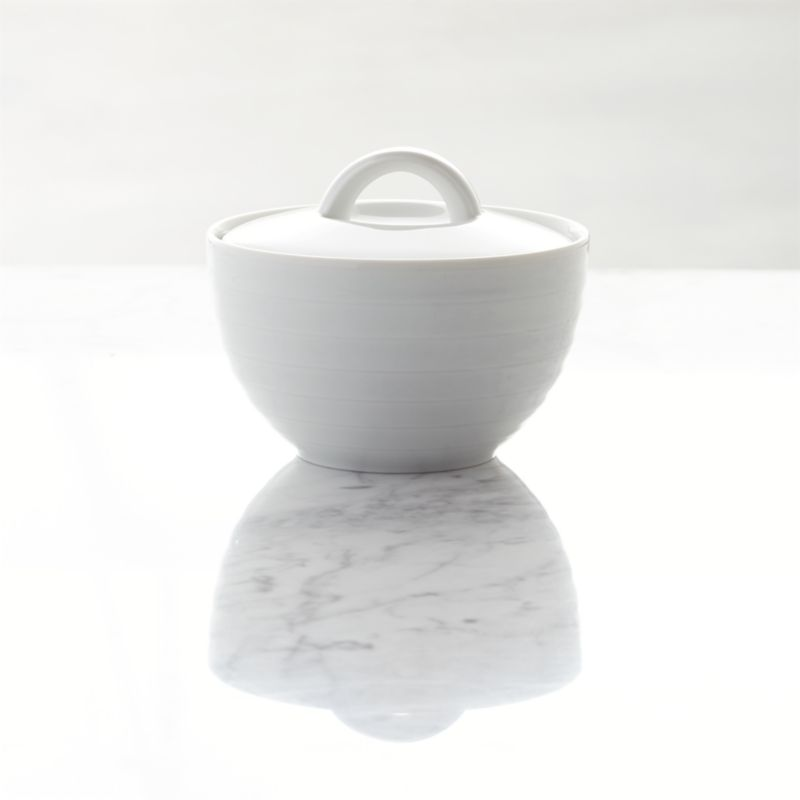 Our Roulette sugar bowl features subtle concentric circles that create a soothing ripple effect in durable, pure white porcelain. Roulette dinnerware also available.<br /><br /><NEWTAG/><ul><li>Porcelain</li><li>Designed by Martin Hunt of Queensberry Hunt</li><li>Dishwasher- and microwave-safe</li><li>Made in Portugal</li></ul><br />