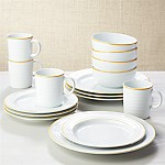 Roulette Yellow Band 16-Piece Dinnerware Set
