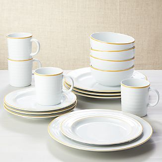 Roulette Yellow Band 16-Piece Dinnerware Set & Porcelain Dinnerware | Crate and Barrel