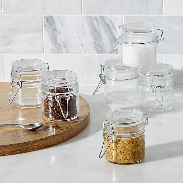 round mini clamp jar with lid set of 6 reviews crate and barrel. Black Bedroom Furniture Sets. Home Design Ideas