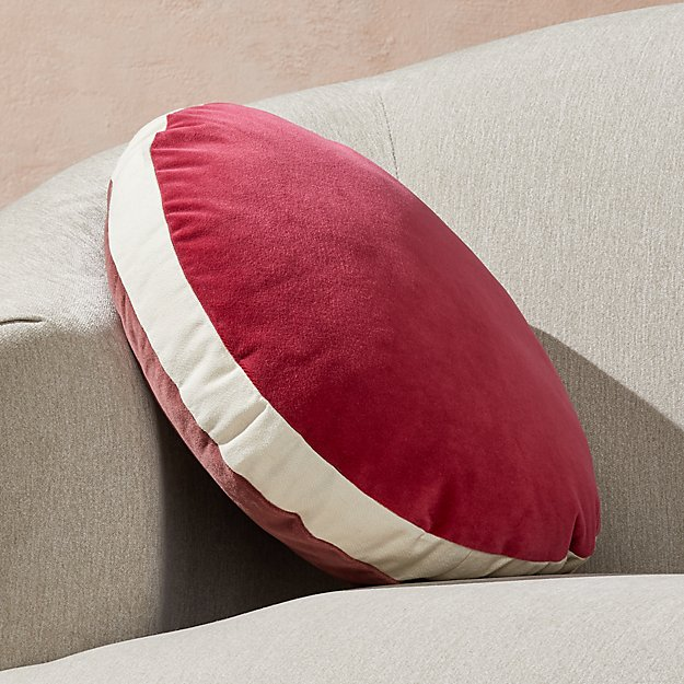 """Round Velvet Dusty Plum/Berry Pillow with Feather-Down Insert 18"""" - Image 1 of 9"""