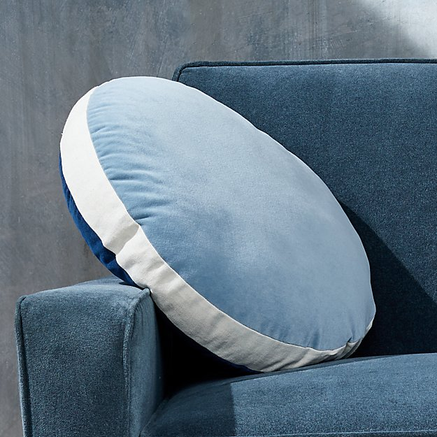 "Round Velvet Indigo/Lead Pillow with Feather-Down Insert 18"" - Image 1 of 11"