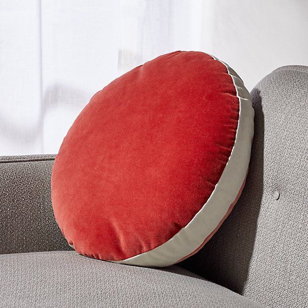 "Round Velvet Red/Coral Pillow with Feather-Down Insert 18"" - Image 1 of 8"