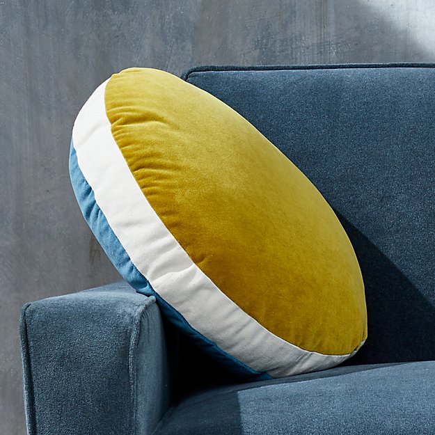 "Round Velvet Teal/Saffron Pillow with Feather-Down Insert 18"" - Image 1 of 6"