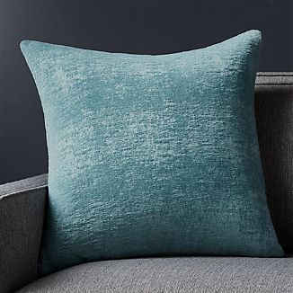 "Roussel Blue Velvet 20"" Pillow with Feather-Down Insert"