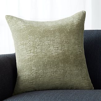 "Roussel Sage Green Velvet 20"" Pillow with Feather-Down Insert"