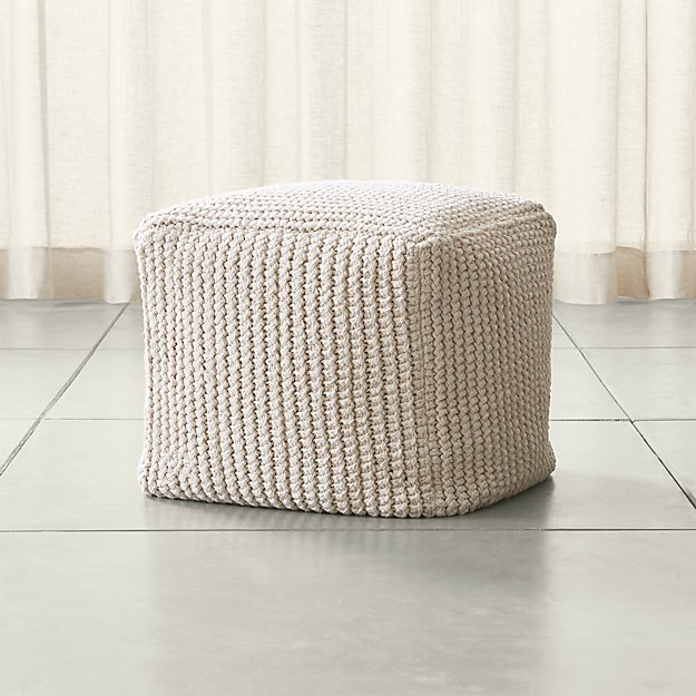 rowden crochet pouf reviews crate and barrel. Black Bedroom Furniture Sets. Home Design Ideas