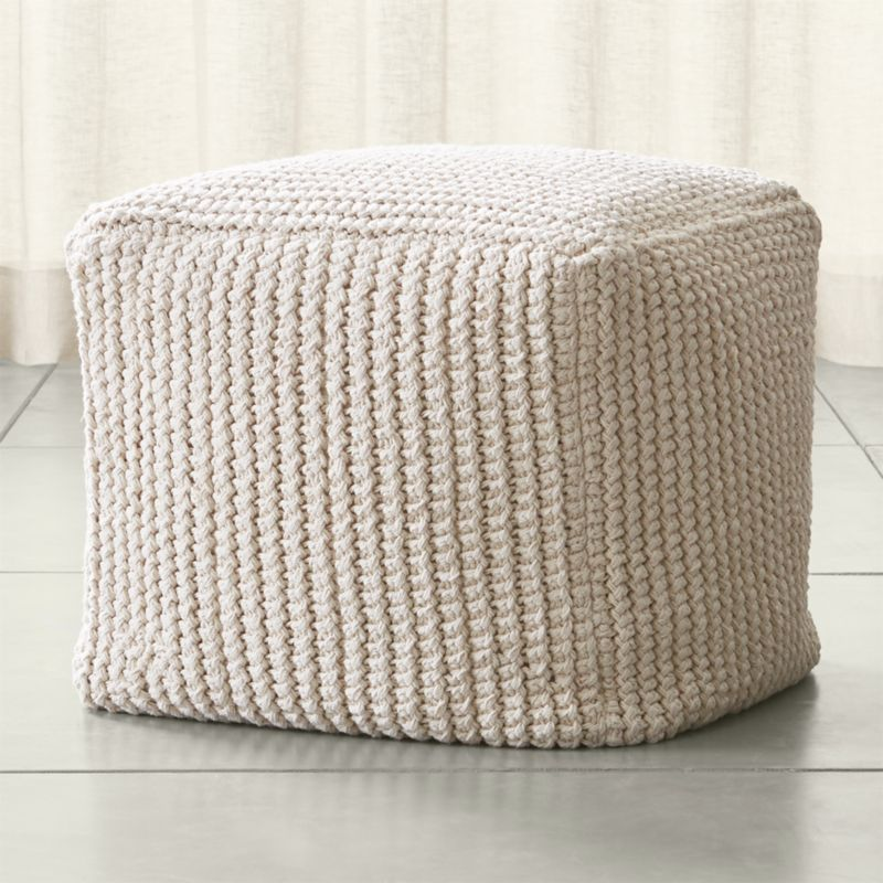 rowden crochet pouf crate and barrel. Black Bedroom Furniture Sets. Home Design Ideas
