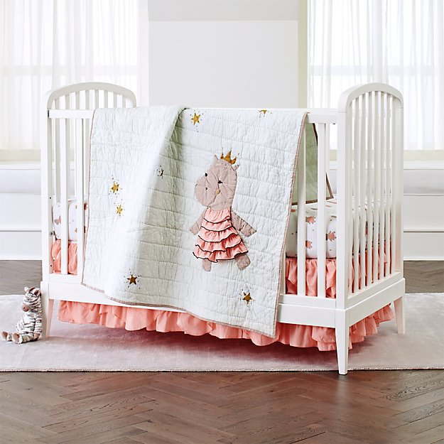 Royal Hippo Crib Bedding 3 Piece Set Reviews Crate And Barrel