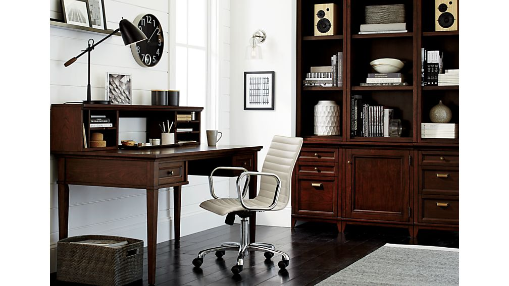 """Harrison 18"""" Cognac Bookcase with Filing Cabinet Base"""
