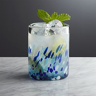 Rue Blue Double Old-Fashioned Glass