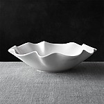 White Ruffle 15  Large Bowl