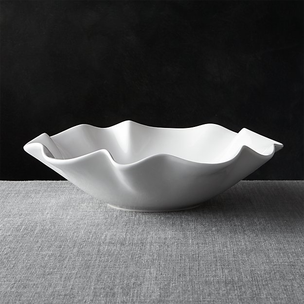 "White Ruffle 15"" Large Bowl - Image 1 of 12"