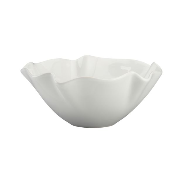 White ruffle serving bowl - Crate and Barrel