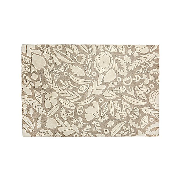 Grey Floral 4x6' Rug - Image 1 of 10