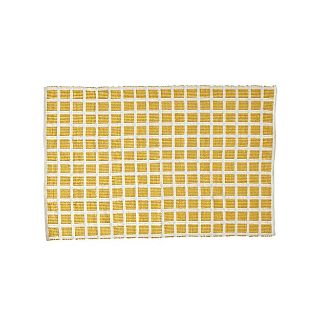 Square Yellow Indoor/Outdoor Rug | Crate and Barrel