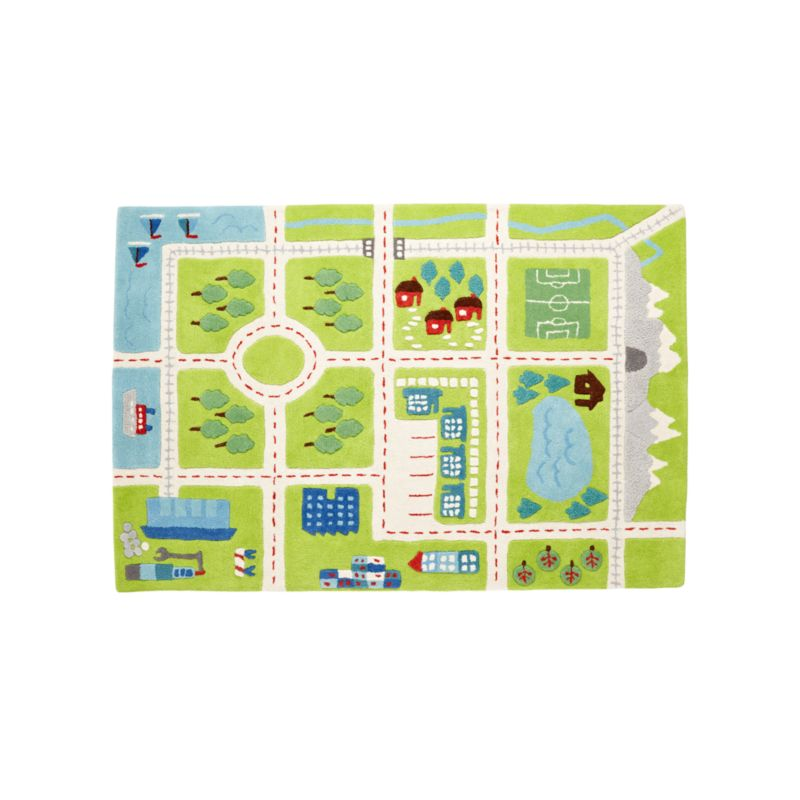decorative play mat.htm tiny town 4x6  road play rug reviews crate and barrel  tiny town 4x6  road play rug reviews