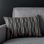 Russel Black 18 x12  Pillow with Feather-Down Insert