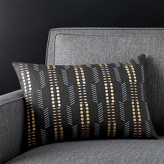 """Russel Black 18""""x12"""" Pillow with Feather-Down Insert"""