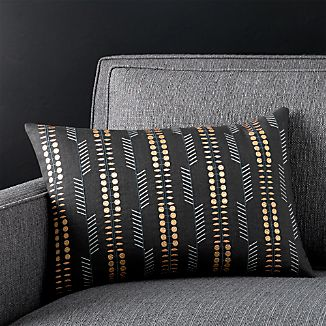 """Russel Black 18""""x12"""" Pillow with Down-Alternative Insert"""