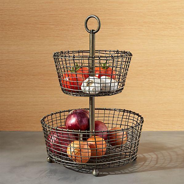 Rustic 2-Tier Iron Fruit Basket