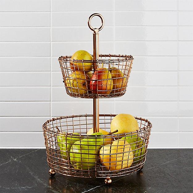 Kitchen Accessories 3 Tier Wire Fruit Basket: Rustic 2-Tier Copper Fruit Basket