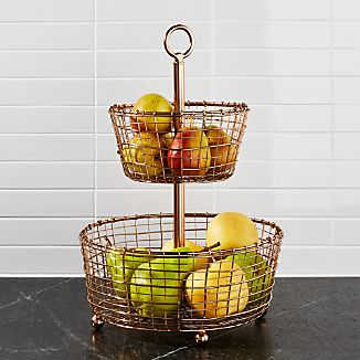 Beau Bendt 2 Tier Copper Fruit Basket