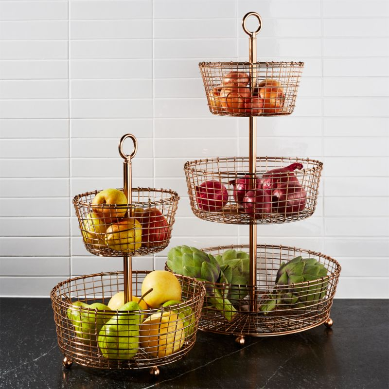 Bendt Tiered Copper Fruit Baskets Crate And Barrel