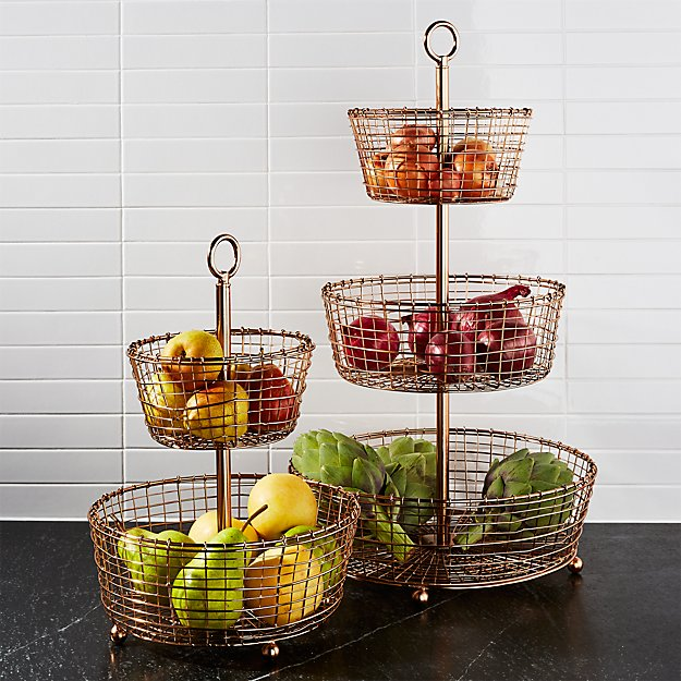 Design Decor Shopping Appstore For: Bendt Tiered Copper Fruit Baskets